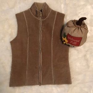 100% Leather Zip Vest by Express w faux shearling
